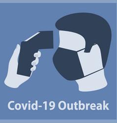 Covid-19 outbreak body temperature check sign vector