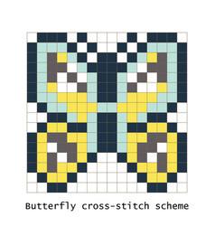 Cross-stitch pixel art butterfly set vector