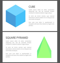 cube and square pyramid figures isolated on white vector image