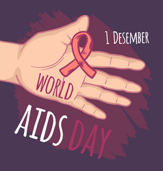 december world aids day concept background hand vector image