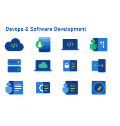 devops software development icon set coding vector image
