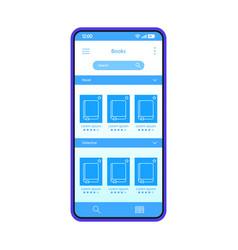 Digital books smartphone interface template vector