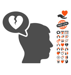 Divorce thinking man icon with lovely bonus vector