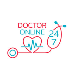 doctor online logo on white background neon vector image