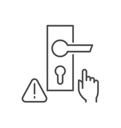 Dont touch door handle thin line icon vector