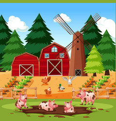 Farm scene with animals and crops vector