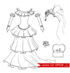 fashion set in hand drawing style vector image