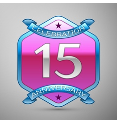 Fifteen years anniversary celebration silver logo vector