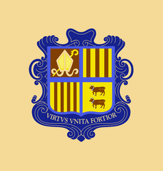 Flat icons on theme coat of arms andorra vector