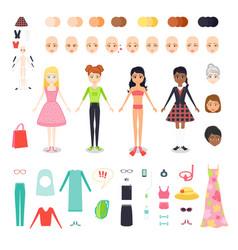 flat set of figure pretty girl vector image