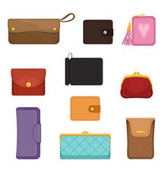 flat set stylish wallets pocket-sized vector image