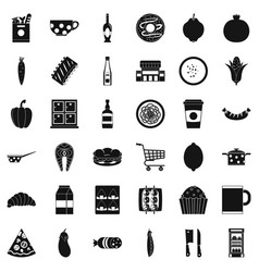 formal dinner icons set simple style vector image