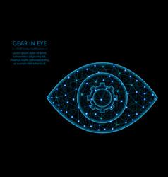 Gear in eye low poly model settings or vector