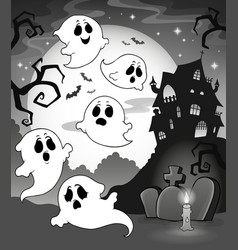 Ghosts near haunted house theme 7 vector