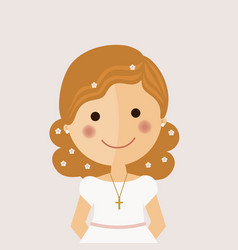 Girl communion foreground with curly hair on vector