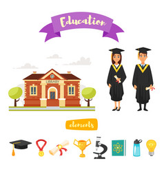 graduation characters and icons vector image