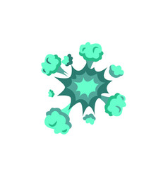 Green neon boom effect exploding bomb cartoon vector