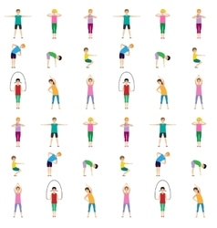 Gymnastics kids seamless pattern vector