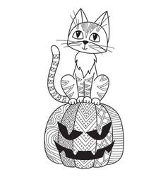 halloween doodle coloring book page cat vector image