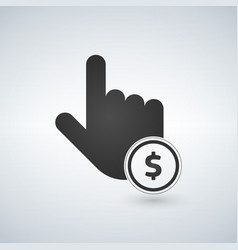 hand click simple icon currency exchange sign vector image