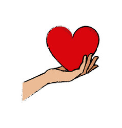 Hand holding heart blood donation vector