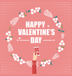 hand holding smartphone for valentines day vector image