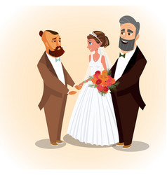 happy groom bride and father vector image