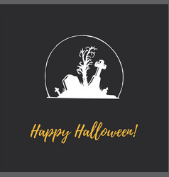 happy halloween hand lettering vector image