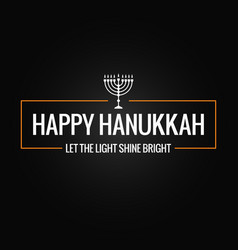 happy hanukkah sign logo on black background vector image