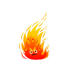 Hot fire monster with cute eyes and long flame vector