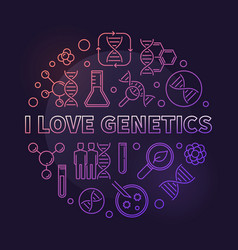 I love genetics colored thin line round vector