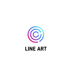 Isolated dotted line art logo template abstract vector