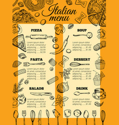 Italian food menu of different pasta and pizza vector