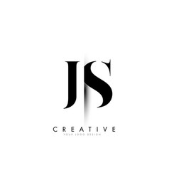 Js j s letter logo with creative shadow cut design vector
