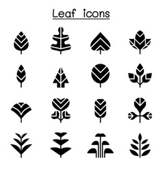 leaf tree icon set vector image