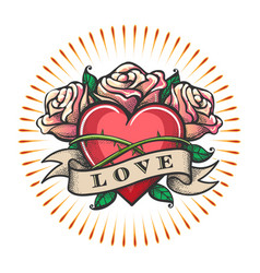 love theme tattoo with heart and rose flowers vector image