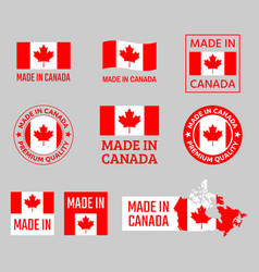 made in canada canadian product emblems set vector image