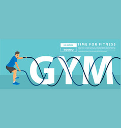 men with battle rope exercise in gym text vector image