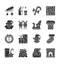 New year christmas black silhouette icon set vector