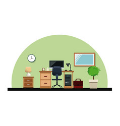 Office interior desk chair computer lamp mirror vector