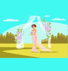 Outdoor wedding ceremony flat vector