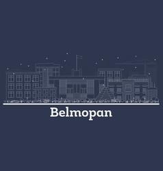 outline belmopan belize city skyline with white vector image