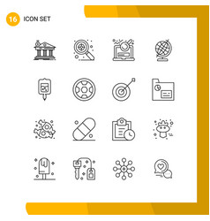 Pack 16 modern outlines signs and symbols vector