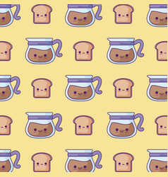 pattern teapots with breads kawaii style vector image