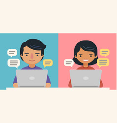 people with speech bubbles and computers vector image