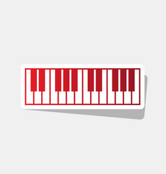 Piano keyboard sign new year reddish icon vector