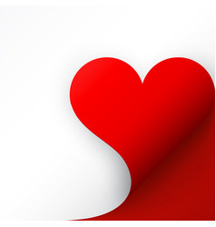 red paper with heart curled corner and shadow vector image