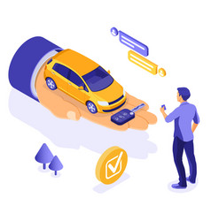 sale purchase rental sharing car isometric vector image