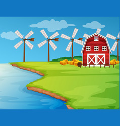 scene with windmills on the field vector image vector image