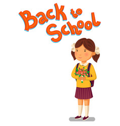 schoolgirl and back to school text template vector image